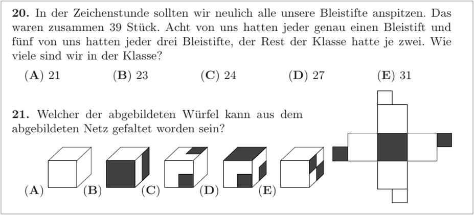 Bild mit zwei Beispielaufgaben